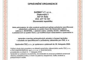 Certifikát kvalifikovaného dodávateľa pre ČEZ